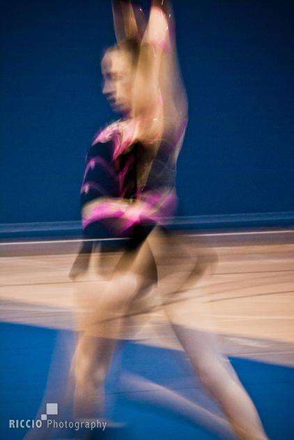 Rhythmic gymnast performing her routine