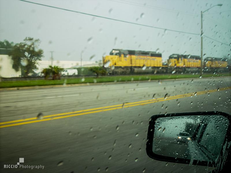 speeding train in the rain