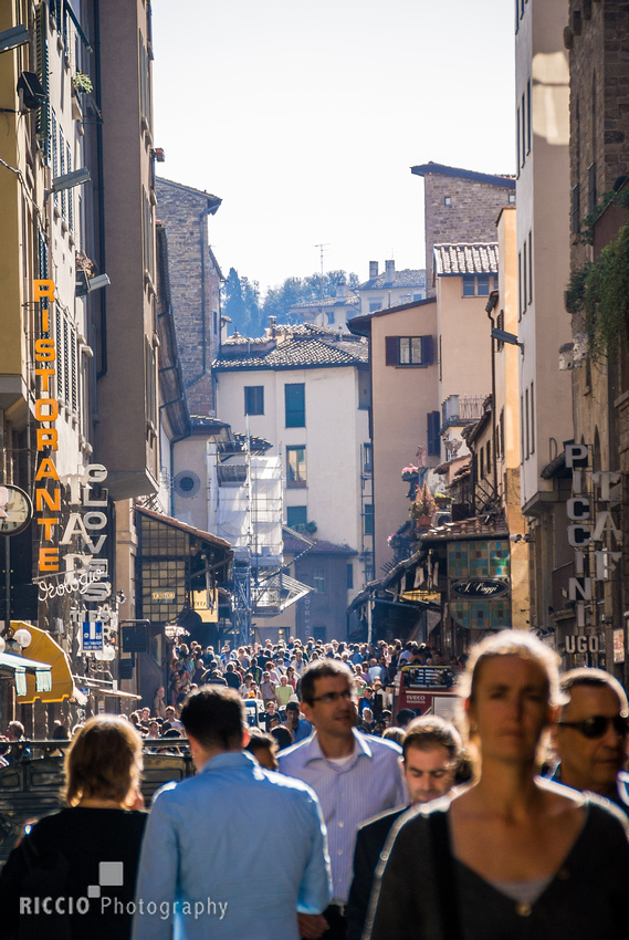 Crowd of pedestrians in Florence, Italy