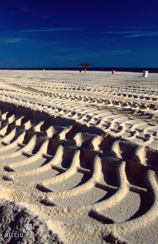 Heavy tracks on beach in Louisiana