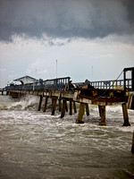 Old pier battered by waves. Fort Lauderdale-by-the-sea, South Florida