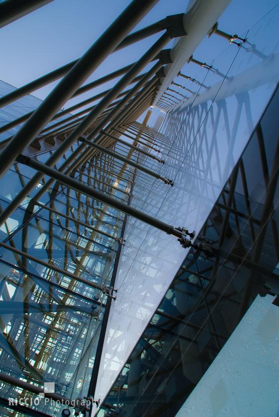 Reflective facade of a building in Baltimore. Photographed by Maurizio Riccio