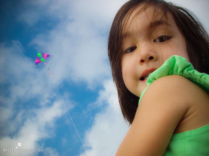 Child flying a kite
